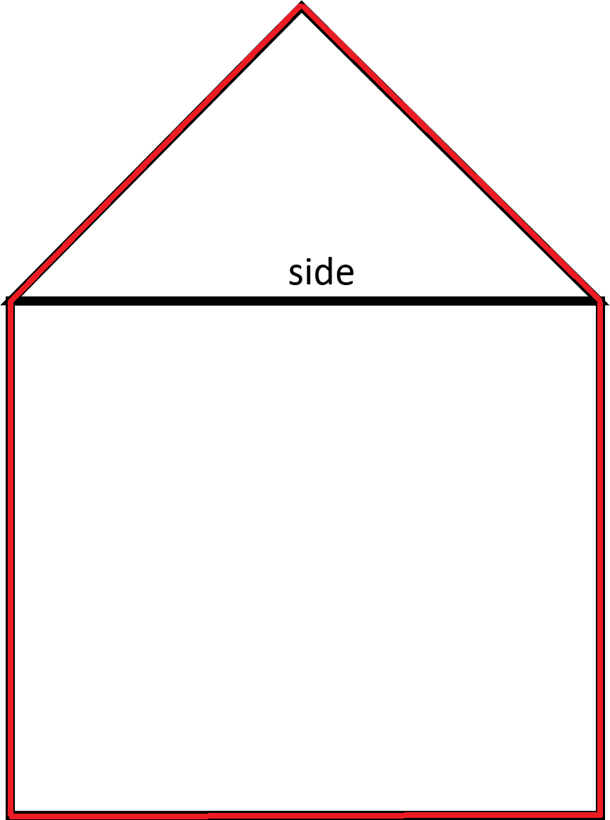 In Order To Find The Perimeter, Add Up The Lengths Outlined In Red The  Perimeter Includes The Two Legs Of The Triangle And Three Sides Of The  Square