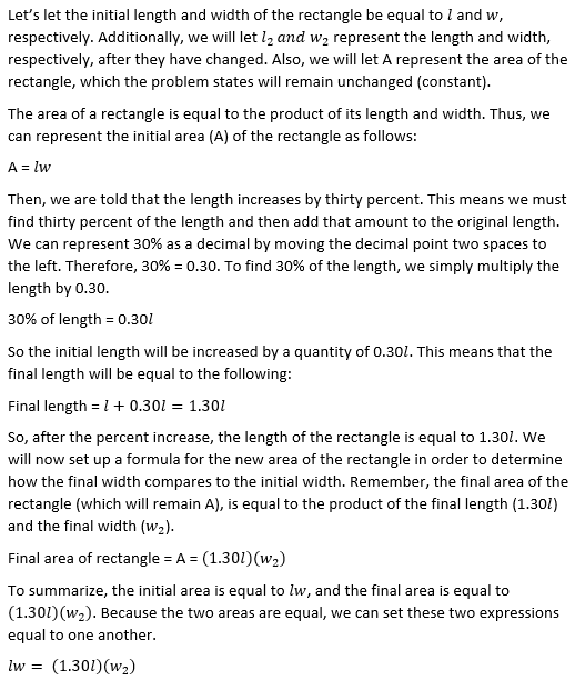 How to find the percent of decrease SAT Math – Percent of Change Worksheet